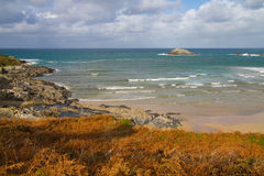 Autumn at Crantock bay Cornwall coast England Stock Photography