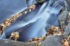 Autumn creek with a little cascade. Stock Photos