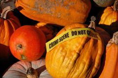 Autumn crime scene. A crime scene in autumn full of pumpkins stock photography