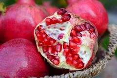 Pomegranate. Autumn & good vitamin, Autumn crop Stock Photos