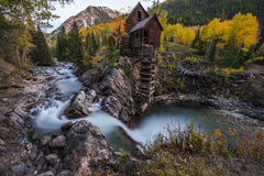 Autumn in Crystal Mill Colorado Landscape. Crystal Mill Wooden Powerhouse located on Crystal River Colorado Stock Image