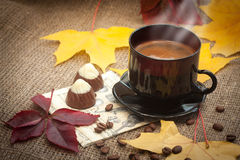 Autumn cup of coffee Royalty Free Stock Photos