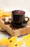 Autumn cup of coffee. And small chocolate   cookies Royalty Free Stock Photos