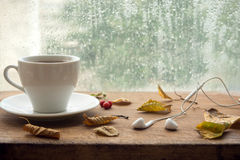 Autumn. Cup of coffee and earbuds. Stock Images