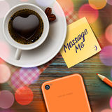Autumn cup of coffee, tablet and stick note Royalty Free Stock Photo