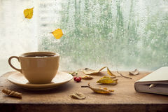 Autumn. Cup of tea and note book. Royalty Free Stock Images