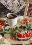 Autumn cup of tea. With rowanberry. vintage paper. picture mushroom stock photo