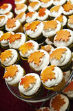 Autumn Cupcakes. Fall decorated cupcakes with leaves on top Royalty Free Stock Images
