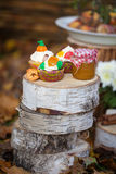 Autumn cupcakes. And a jar with honey on the stumps Royalty Free Stock Image