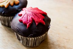 Autumn Cupcakes with leaf style Stock Photo