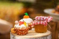 Autumn cupcakes. On the stumps Stock Photography
