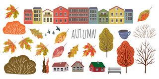Autumn. Cute flat objects of isolated leaves, houses, trees and shrubs on a white background. Drawing by hand
