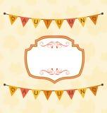 Autumn Cute Frame avec des fanions d'étamine Photo stock