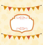 Autumn Cute Frame with Bunting Pennants Stock Photo