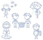 Autumn Cute Kids Stock Image
