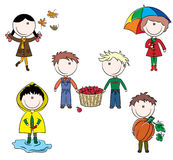 Autumn cute kids Stock Photos