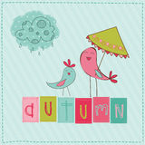 Autumn Cute Rainy Card Royalty Free Stock Images