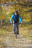 Autumn cycling in forest royalty free stock photography