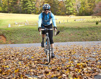Autumn Cycling/Woman Stock Photo