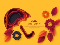 Autumn 3d paper cut umbrella with leaves and flowers. Abstract background with shapes in yellow, orange, purple colors. Design for decoration, business Stock Illustration