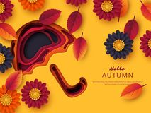 Autumn 3d paper cut umbrella with leaves and flowers. Abstract background with shapes in yellow, orange, purple colors. Design for decoration, business Vector Illustration
