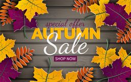 Autumn 3d sale banner, paper frame, colorful tree leaves on wooden background. Autumnal design for fall season card, sale banner. Autumn 3d sale banner, paper royalty free illustration