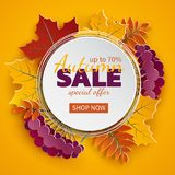 Autumn 3d sale banner, paper frame, colorful tree leaves on yellow background. Autumnal design for fall season greeting card, sale. Banner, poster, flyer, web stock illustration