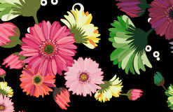 Autumn daisy. Whimsical girly daisy floral wallpaper bouquet print with outline texture qualities and colorful elements Stock Image