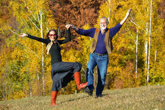 Autumn dance on a meadow Royalty Free Stock Images