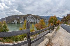 Autumn at the Danube Gorges, border between Romania and Serbia Stock Photography