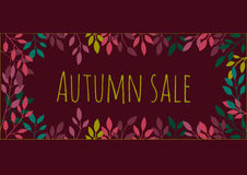 Autumn dark background with leaves. Vector illustration. Autumn sale. Background.n Royalty Free Stock Photo