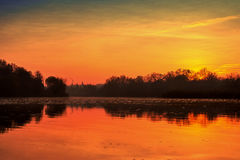 Autumn dawn on the river Royalty Free Stock Images