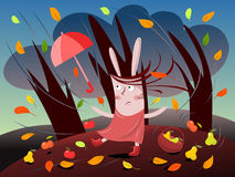 Autumn day. Illustration of funny female rabbit trying to collect fruits on an autumn stormy day Stock Images