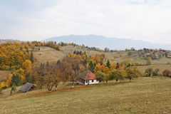 Autumn day. A mountain village in an autumn day royalty free stock photography