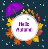 Vector autumn, fall card,print,illustration,template,border. Hello autumn. royalty free illustration