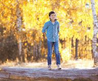 Autumn day, happy boy walking Stock Photography