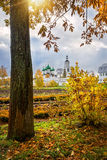 Autumn day in the monastery. The trunk of the tree fall and the monastery in the rays of the autumn sun Royalty Free Stock Photos