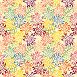 Autumn Day Pattern. Stack of colorful flower and leaf forming pattern vector illustration