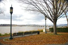 Autumn Day by the River. This is Riverfront Park in Harrisburg, Pennsylvania on a typical Autumn day stock photo