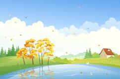 Autumn day scene. Illustration of an autumn scenery Royalty Free Stock Photos