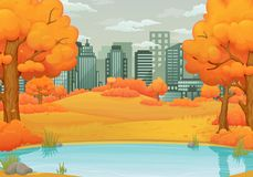 Autumn day vector illustration. Lake or river with orange bushes and trees with falling leaves. Withered hills and cityscape. stock illustration
