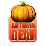 Autumn deal label with fall pumpkin Royalty Free Stock Photos