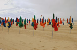 Autumn in Deauville. The known beach in September is deserted, a strong wind, a rain, coldly Stock Image
