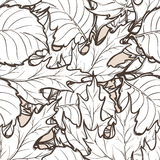 Autumn deciduous leaves seamless pattern. Autumn red and orange deciduous trees leaves. Detailed intricate hand drawing. Chaotic distribution of elements vector illustration