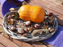 Autumn deco. Nice autumn decoration on a wooden table Stock Photo