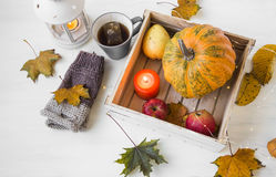 Autumn decor with candle, pumpkin, lantern, cup of tea and fall Stock Images