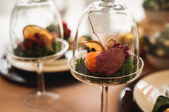 Autumn decor with dry flowers and oranges Stock Photography