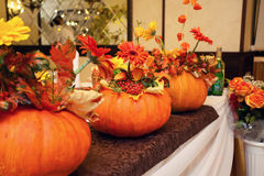 Autumn decor in the form of pumpkins Stock Photography