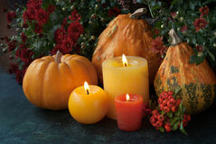 Autumn decor with candle and flowers Royalty Free Stock Image