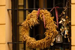 Autumn decor with a wreath. And a lantern stock images